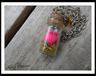 Pink Rose in a Bottle Necklace