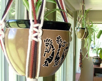 Large Outdoor Planter - Macrame Cotton Rope Planter - Half Knot Squared Hanging Planter - Macramé and Bead Plant Pot Hanger 36""