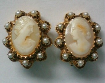 Hand Carved Shell Cameo Clip Earrings - 4040