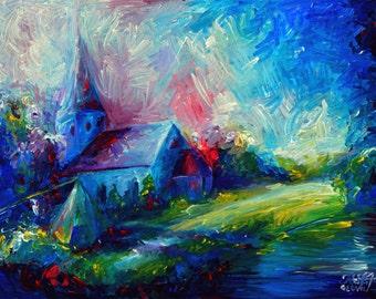 An Original Acrylic Impressionistic Estonian Church Painting on Wood by Kelli Gedvil! 65 x 48 cm / 25,6 x 19 inches