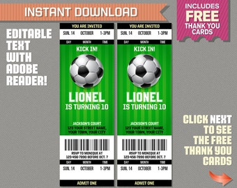 Soccer Ticket Invitation with FREE Thank you Card! - Soccer Birthday, Soccer Party Invitation - Edit and print with Adobe Reader