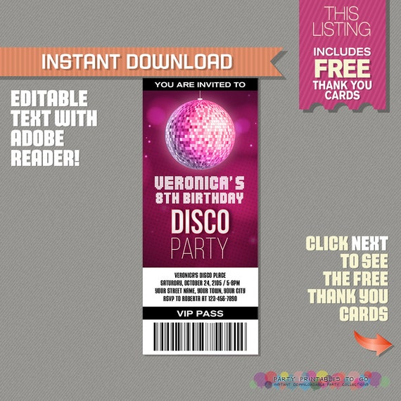 Disco Party Ticket Invitation With Free Thank You Card  Disco