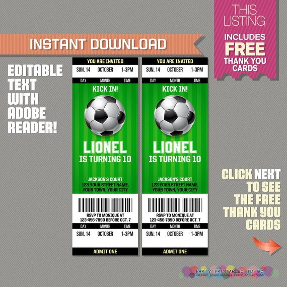 soccer ticket invitation with free thank you card soccer. Black Bedroom Furniture Sets. Home Design Ideas