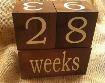 Wooden baby age blocks photo props