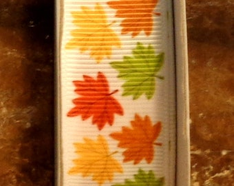 "2 Yards 7/8"" Fall Leaves Thanksgiving or Halloween Too - Leaf Print Grosgrain Ribbon"