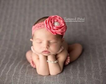 Coral headband, coral and ivory, ivory lace headband, Easter headband, newborn headband, flower girl headband, coral baby headband