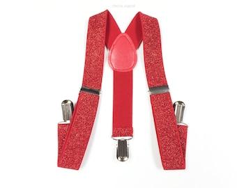 kid's red GLITTER suspenders, red glitter suspenders, red suspenders, red suspenders, toddler bowtie and suspenders, glitter suspenders, red