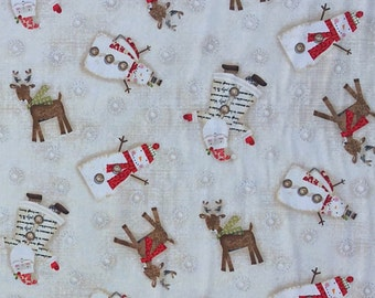 Fabric with Snowmen and Reindeer by SPX | cotton fabric by the yard | Christmas fabric | quilt fabric | winter fabric | home decor fabric