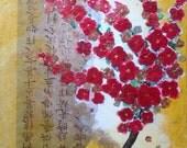 Shabby Asian Writing Cherry Blossom Tree  Decoupage painting 8 x 10.