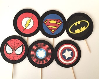 Superhero themed Cupcake toppers