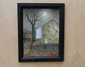 Autumn Moon .. Billy Jacobs print .. country home decor .. wall hanging .. pumpkins and full moon .. framed prints .. Made in USA