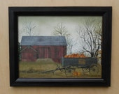 Pumpkin Wagon .. country home decor . barn and pumpkin picture . Billy Jacobs prints . wall hanging . real wood frame . Made in the USA