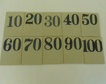 10 Vintage Flash Cards ~ Count By Ten