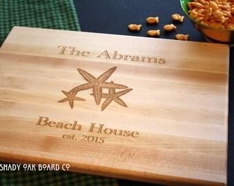 Personalized Cutting Board, Starfish, Beach Decor, Nautical Decor, Beach House Cottage, Nautical Gift, Wedding Gift, Anchor