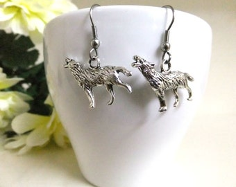 Silver Howling Wolf Earrings, Wolf Charm, Silver Earrings, Simple Earrings, Animal Earrings, Wolf Jewellery, Silver Wolf Jewelry
