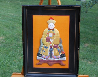 Fabric Art Asian Man Framed 3D