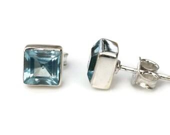7mm Blue Topaz Sterling Silver Stud Earrings in Bezel Setting -Bezel Blue Topez Silver Studs- Square Gemstone Round Blue Topaz Post Earrings