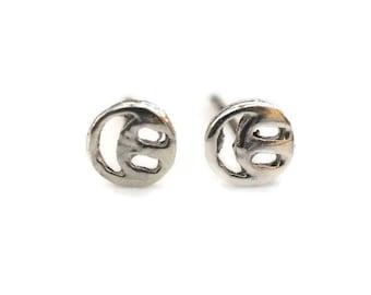 Smiley Face Sterling Silver Stud Earrings - Sterling Silver Smiling Face Post Earrings - Smiley Face Posts - Smiling Face Earrings