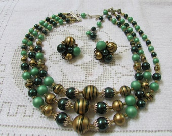 Vintage green and gold triple strand necklace and earring set midcentury choker statement necklace Japan