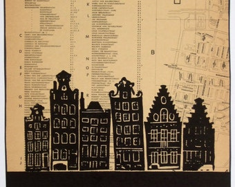Amsterdam lino print, one-of-a-kind, canal houses hand-printed onto 1964 gemeente map of Slotermeer. Signed, unframed.