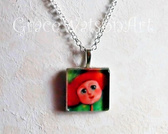 Whimsical Girl Art Pendant, with chain
