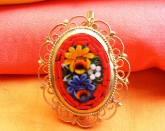 mosaic brooch, floral brooch, Murano mosaic brooch, metal brooch, vintage brooch, mosaics Florentines,with Murano glass,Italian micro mosaic