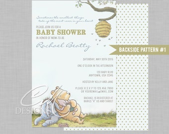 classic winnie the pooh baby shower invite with or without a backside