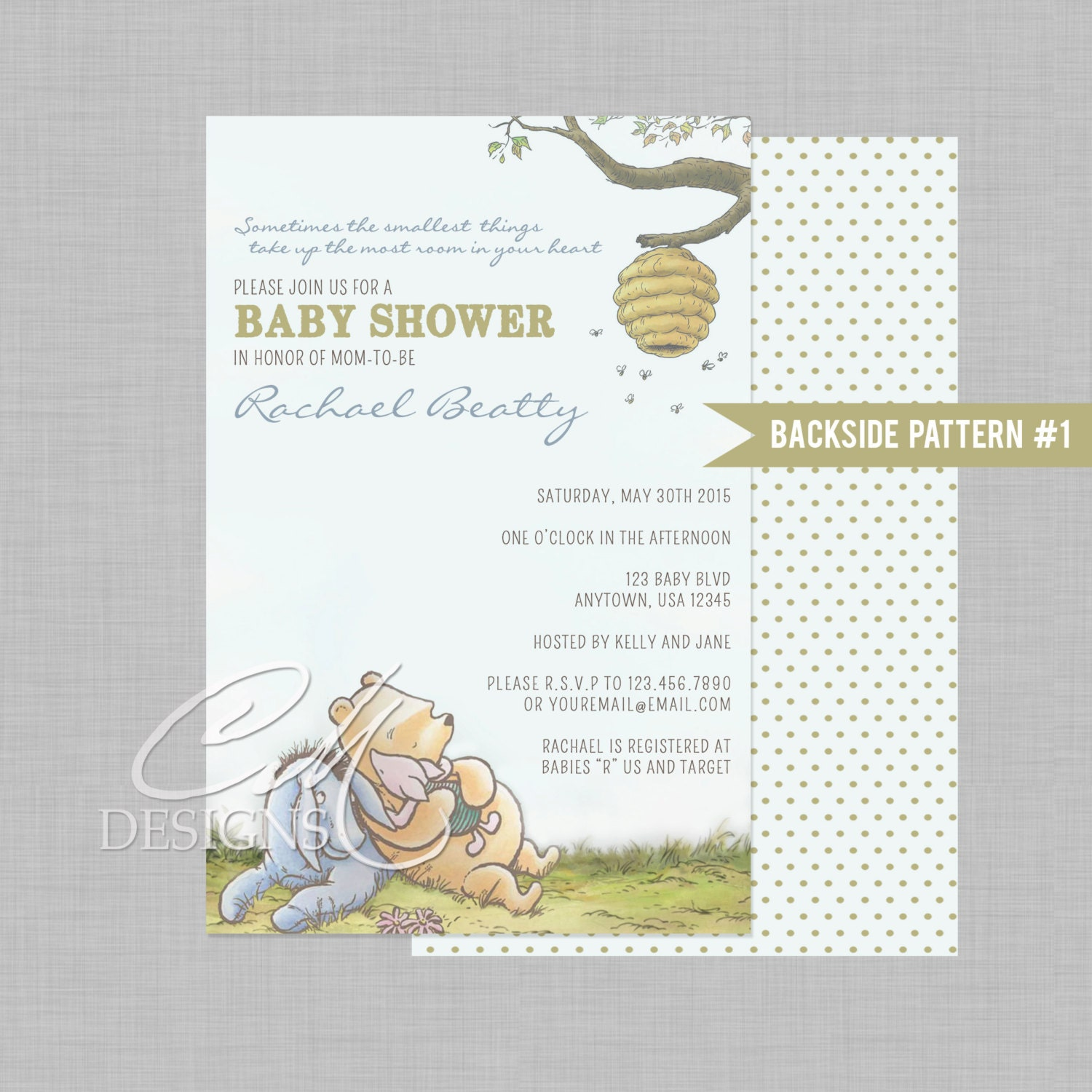 classic winnie the pooh baby shower invite by designsbycassiecm