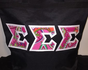 Lilly Or Vera Large Lettered Bag with Zipper Enclosure- Sorority or Fraternity - Great for carrying books, traveling, etc