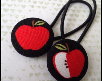 28mm covered button ponytail holder pair - apple hair tie - fruity ponytail elastic - hair elastic - rockabilly accessories - red apple