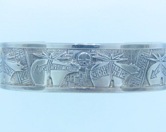 "Sterling Silver Cuff Bracelet Signed ""RMT"""