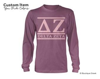 DZ Delta Zeta Custom Comfort Colors Classic Sorority Long Sleeve Tee