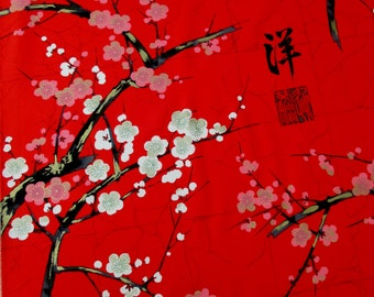 Fabric, Golden Garden in Red, Japanese Blossoms, Alexander Henry Fabric, By The Yard