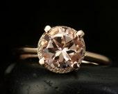 Michaela - Peach Pink Morganite Engagement Ring, Rose Gold, Round Brilliant Cut, Lowered Basket Diamond Halo, Unique Design, Free Shipping
