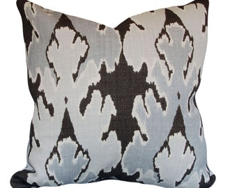 Kelly Wearstler Ikat Bengal Bazaar Decorative Pillow Cover - Lee Jofa Groundworks - Throw Pillow - Solid Cream Back - All Sizes