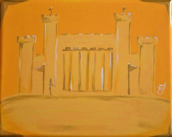 Gold/Yellow Castle with Knight Standing Guard Painting Fine Art Wall Art Wall Hanging Home Decor