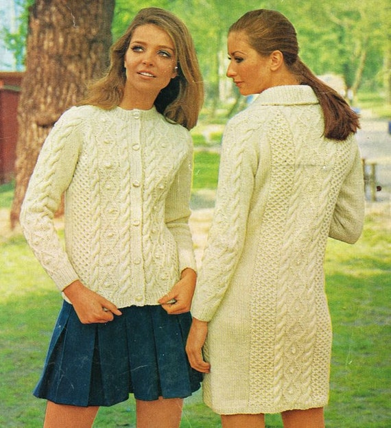 ladies aran cardigan and coat vintage knitting pattern PDF