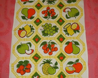 Vintage Towel Table Runner Tea Towel Clusters of Fruit n Berries with Floral Honeycomb Border