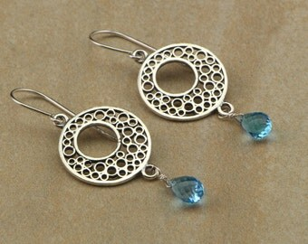 Dangle Earrings, Sterling Silver, Bubble-Filled, Circle Earrings with Blue Topaz, Teardrop Briolettes