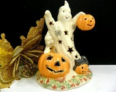 Lenox Discontinued Lighted Ghost and Halloween Pumpkin Figurine