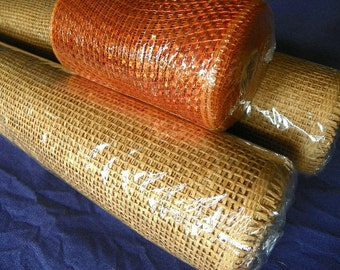 Deco Rolls of Brown Paper Mesh and or 1 Accent Roll of Orange Poly Mesh