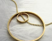 Circle in circle necklace, infinity necklace, woven chain double circle necklace, geometric necklace gift for her