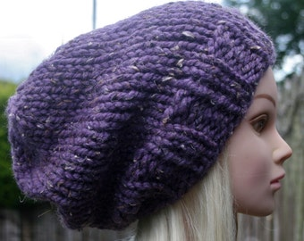 Reduced to clear- Hand Knit hat- Womens hat- Slouchy- beanie hat- Purple tweed- Rustic Mega chunky with wool- chunky hat- Womens Accessories