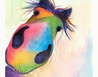 Descarado/Linda impresión en 3 tamaños de Original acuarela pintura caballo feliz 'Guinda' de Shirley MacArthur