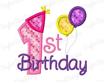 First Birthday Applique Machine Embroidery Design 4x4 5x5 6x6 Party Hat Balloon Balloons INSTANT DOWNLOAD