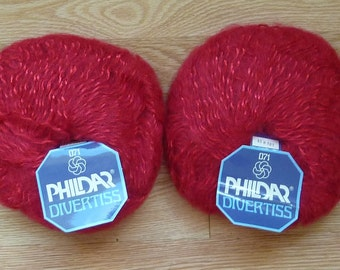 Phildar Divertiss  - Wool, Kid Mohair Blend - Lot of 2 Skeins - Made in France