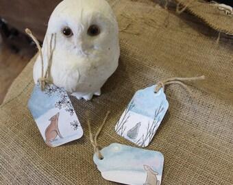 Handmade Christmas Woodland Animals: Fox, Hare & Rabbit Gift Tags-Set of 9