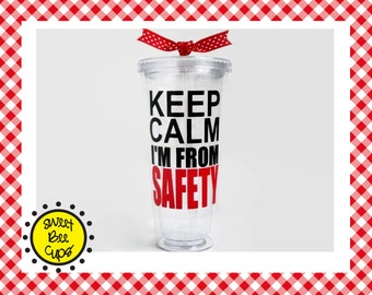Personalized Acrylic Tumbler, Keep Calm I'm from the IRS CIA FBI vdoe safety osha, you choose agency, Acrylic Tumbler Lid and Straw Bpa Free