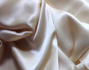 1 Yard, 17 Inches Beige Silk Charmeuse