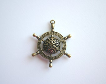 2 Ship Helm Steering Wheel Antique Bronze Nautical Sailor Sail Boat Navigate Pirate Victorian Charm Jewelry Supplies
